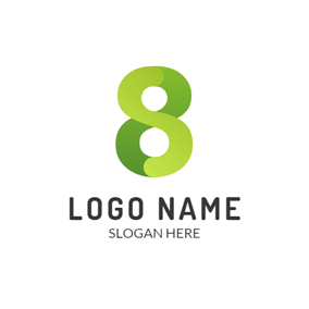 Cyan and Green Number Eight logo design