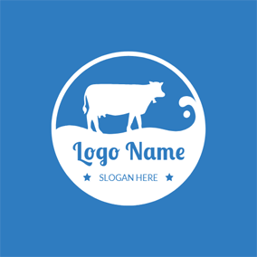 Dairy Cow and Milk logo design