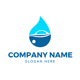 Dark and Light Blue Oil Drop logo design