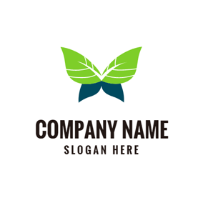 Dark Blue and Green Leaf logo design