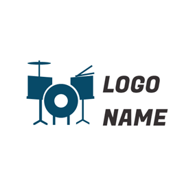 Dark Blue Drum Kit logo design
