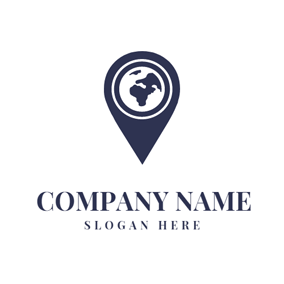Dark Blue Pointer and Earth logo design