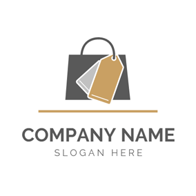 Dark Brown Handbag and Label logo design