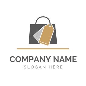 Dark Brown Handbag And Label Logo Design