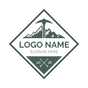 Dark Green Axe and Mountain Camping logo design