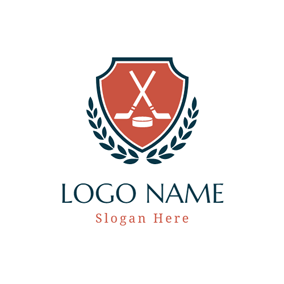 Dark Green Leaf and Hockey Stick logo design