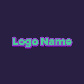 Decorated Purple Wide Cool Text logo design