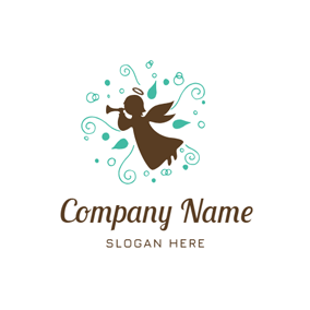 Decoration and Cute Angel logo design