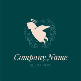 Decoration Branch and Cute Angel logo design