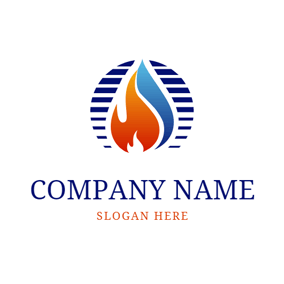 Decoration Circle and Flame logo design