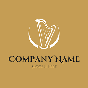 Decoration Crescent and Harp logo design