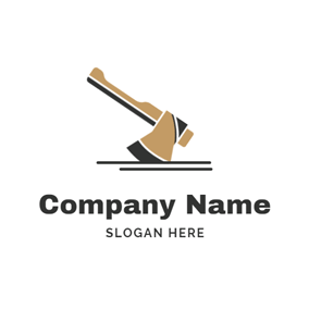 Decorative Rib and Axe logo design
