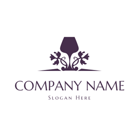 Delicate Vine Decorated Wine Cup logo design