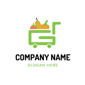 Delivery Pumpkin Pear Grocery logo design