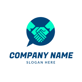 Dialog Box and Handshake logo design