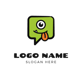 Dialog Box and Monster Face logo design