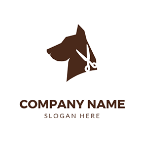 Dog Head and Scissor logo design