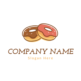 Double Chocolate Doughnut logo design