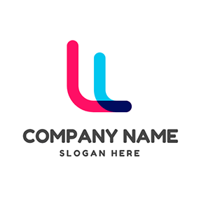 Double Colorful Letter L logo design