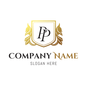 Double Golden Letter P logo design