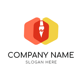 Double Hexagon and White Brush logo design