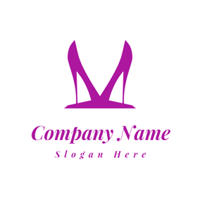 Double Purple High Heeled Shoes logo design