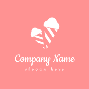 Double White and Pink Ice Cream logo design