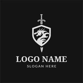 Dragon Badge and Sword logo design