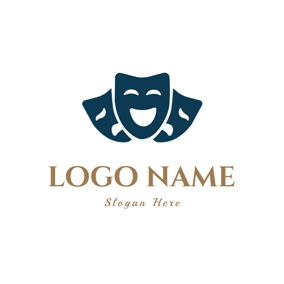 Drama Comedy Acting Masks logo design
