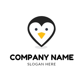 Drop and Lovely Penguin Face logo design