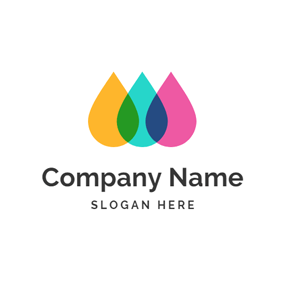 Drop Shape and Colorful Paint logo design