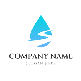 Drop Shape and Sinuous Stream logo design