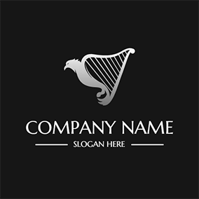 Eagle and Simple Harp logo design