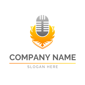 Eagle Wing and Gray Microphone logo design