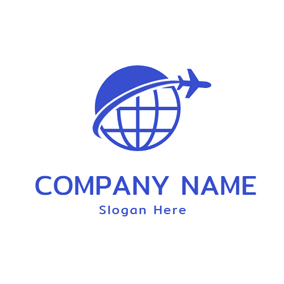 Earth and Airplane Icon logo design