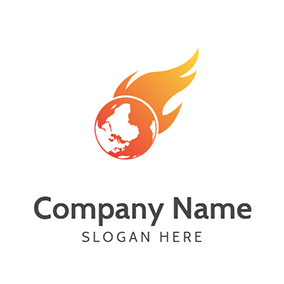 Earth Fire Global Warming logo design