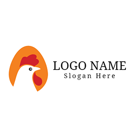 Egg and Hen Chicken Head Icon logo design