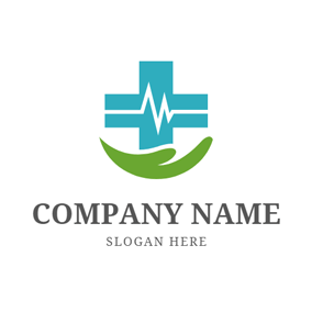 Electrocardiogram and Cross Symbol logo design