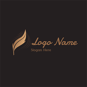 Elegant Feather and Poetry logo design