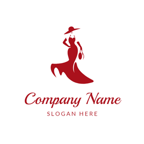 Elegant Woman and Red Skirt logo design