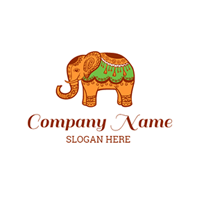 Elephant and Thai Style Pattern logo design