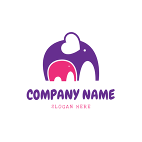 Elephant Mom and Baby logo design