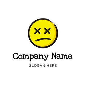 Emoji Face Drawing Sad logo design