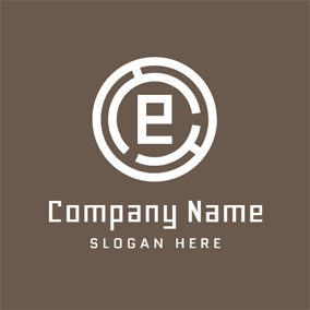Encircled Brown Letter E logo design