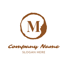Encircled Brown Letter M logo design