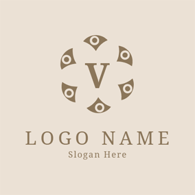 Encircled Brown Letter V logo design