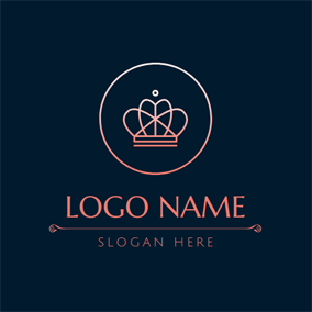 Encircled Gradient Color Crown logo design