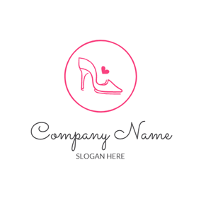 Encircled Heart and Red High Heeled Shoe logo design