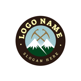 Encircled Mountain and Camping Tool logo design