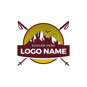 Encircled Mountain and Mountaineering Stick logo design